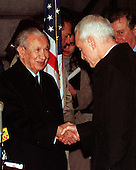 Former International Olympic Committee President Juan Antonio Samaranch passed away in Barcelona, Spain on Wednesday, April 21, 2010. He was 89 years old.  In this file photo dated December 14, 1999, Samaranch (left) shakes hands with United States National Drug Control Policy Director Barry McCaffrey (right) following their press confrence in Washington on 14 December, 1999.  Samaranch and McCaffrey were part of a group announcing agreement on improving the World Anti-Doping Agency (WADA) which is mandated to play a significant role in the elimination of drugs in sports..Credit: Ron Sachs / CNP