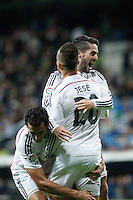 Real Madrid´s Jese Rodriguez celebrates a goal with Isco (L) and Alvaro Arbeloa during Spanish King Cup match between Real Madrid and Cornella at Santiago Bernabeu stadium in Madrid, Spain.December 2, 2014. (NortePhoto/ALTERPHOTOS/Victor Blanco)