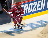 Ty Pelton-Byce (Harvard - 11) - The University of Minnesota Duluth Bulldogs defeated the Harvard University Crimson 2-1 in their Frozen Four semi-final on April 6, 2017, at the United Center in Chicago, Illinois.