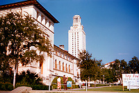 Vintage August 1956 view of University of Texas August 1956 and UT Tower in downtown Austin, Texas.