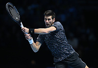 Novak Djokovic in action against Alexander Zverev in their singles Final match today<br /> <br /> Photographer Rob Newell/CameraSport<br /> <br /> International Tennis - Nitto ATP World Tour Finals Day 8 - O2 Arena - London - Sunday 18th November 2018<br /> <br /> World Copyright &copy; 2018 CameraSport. All rights reserved. 43 Linden Ave. Countesthorpe. Leicester. England. LE8 5PG - Tel: +44 (0) 116 277 4147 - admin@camerasport.com - www.camerasport.com