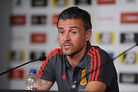 Spain's Manager Luis Enrique during the pre-International Friendly press confrence at the Principality Stadium, Cardiff, UK. Wednesday 10 October 2018