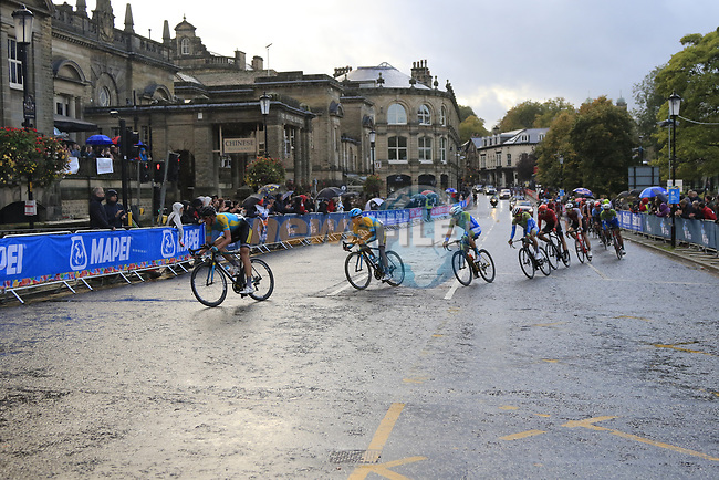 Kazakhstan lead the chase group on the Harrogate circuit during the Men U23 Road Race of the UCI World Championships 2019 running 186.9km from Doncaster to Harrogate, England. 27th September 2019.<br /> Picture: Eoin Clarke | Cyclefile<br /> <br /> All photos usage must carry mandatory copyright credit (© Cyclefile | Eoin Clarke)
