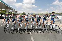 Movistar Team celebrates the end of La Vuelta during the stage of La Vuelta 2012 beetwen Cercedilla and Madrid.September 9,2012. (ALTERPHOTOS/Paola Otero)
