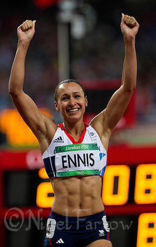 04 AUG 2012 - LONDON, GBR - Jessica Ennis (GBR) of Great Britain celebrates winning her Heptathlon 800m heat and the overall event at the London 2012 Olympic Games athletics at the Olympic Stadium in the Olympic Park, Stratford, London, Great Britain .(PHOTO (C) 2012 NIGEL FARROW)