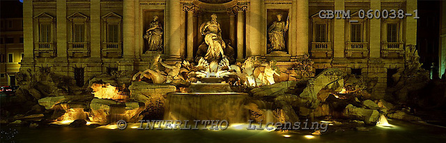 Tom Mackie, LANDSCAPES, panoramic, photos, Trevi Fountain at Night, Rome, Italy, GBTM060038-1,#L#