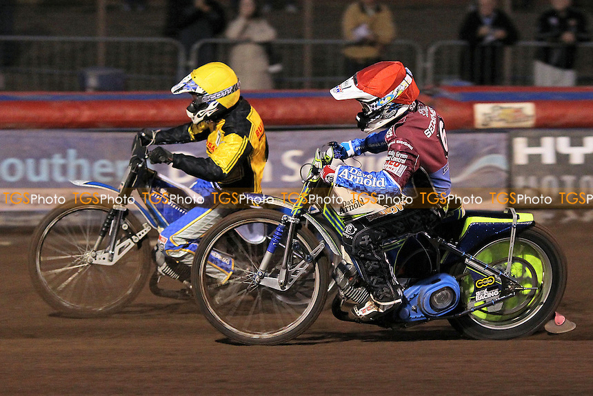 Heat 2: Michal Szczepaniak (yellow) and Justin Sedgmen - Lakeside Hammers vs Coventry Bees - Sky Sports Elite League Speedway at Arena Essex Raceway, Purfleet - 10/09/12 - MANDATORY CREDIT: Gavin Ellis/TGSPHOTO - Self billing applies where appropriate - 0845 094 6026 - contact@tgsphoto.co.uk - NO UNPAID USE.