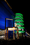 """Robin Perkins and Selbert Perkins Design's """"The Seat of Design"""" giant chair sculpture in front of Center Blue at the Pacific Design Center, West Hollywood, CA at night"""