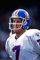 OAKLAND, CA - Close up portrait of quarterback John Elway of the Denver Broncos in action during a game against the Oakland Raiders at the Oakland Coliseum in Oakland, California in 1995. Photo by Brad Mangin