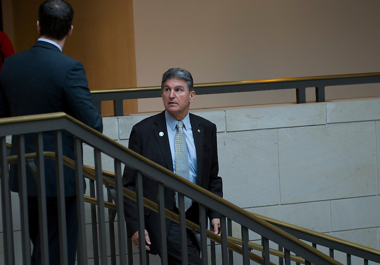 UNITED STATES - May 15: Sen. Joe Manchin, D-WVA walks to a meeting in the Capitol Visitors Center form the U.S. Capitol on May 15, 2013. (Photo By Douglas Graham/CQ Roll Call)