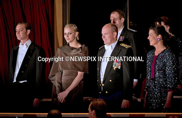 "PRINCE ALBERT AND PRINCESS CHARLENE .together with other members of the Monaco Royal Family attend the Soiree de Gala at the Grimaldi Forum on the occasion of the National Day, Monte Carlo, Monaco_19/11/2011.Mandatory Credit Photos: ©NEWSPIX INTERNATIONAL..**ALL FEES PAYABLE TO: ""NEWSPIX INTERNATIONAL""**..PHOTO CREDIT MANDATORY!!: NEWSPIX INTERNATIONAL(Failure to credit will incur a surcharge of 100% of reproduction fees)..IMMEDIATE CONFIRMATION OF USAGE REQUIRED:.Newspix International, 31 Chinnery Hill, Bishop's Stortford, ENGLAND CM23 3PS.Tel:+441279 324672  ; Fax: +441279656877.Mobile:  0777568 1153.e-mail: info@newspixinternational.co.uk"