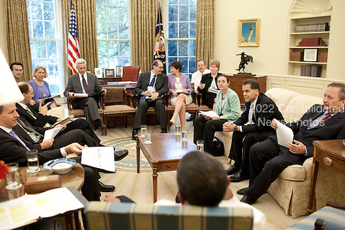 Washington, DC - June 26, 2009 -- United States President Barack Obama meets with advisors during the Presidential Economic daily briefing in the Oval Office, June 26, 2009. .Mandatory Credit: Pete Souza - White House via CNP