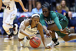 20 March 2015: Mississippi State's Morgan William (left) steals the ball from Tulane's Tierra Jones (right). The Mississippi State University Bulldogs played the Tulane University Green Wave at Cameron Indoor Stadium in Durham, North Carolina in a 2014-15 NCAA Division I Women's Basketball Tournament first round game.