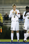 25 October 2013: Wake Forest's Jared Watts. The Duke University Blue Devils hosted the Wake Forest University Demon Deacons at Koskinen Stadium in Durham, NC in a 2013 NCAA Division I Men's Soccer match. The game ended in a 2-2 tie after two overtimes.