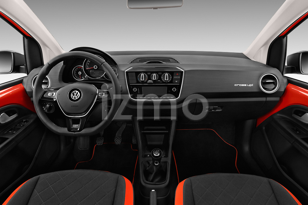 Stock photo of straight dashboard view of a 2018 Volkswagen Up Cross Up 5 Door Hatchback