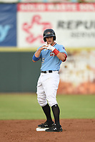 Josh Jung (15) of the Hickory Crawdads in action during game one of the Northern Division, South Atlantic League Playoffs against the Delmarva Shorebirds at L.P. Frans Stadium on September 4, 2019 in Hickory, North Carolina. The Crawdads defeated the Shorebirds 4-3 to take a 1-0 lead in the series. (Tracy Proffitt/Four Seam Images)