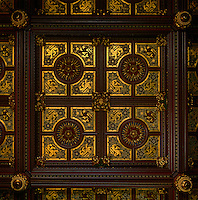 A detail of the coffered ceiling of the Royal Gallery, with heraldic designs by A.W.N Pugin