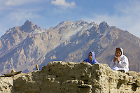 Women in mountain village of Altit in Hunza region of Karokoram Mountains, Pakistan
