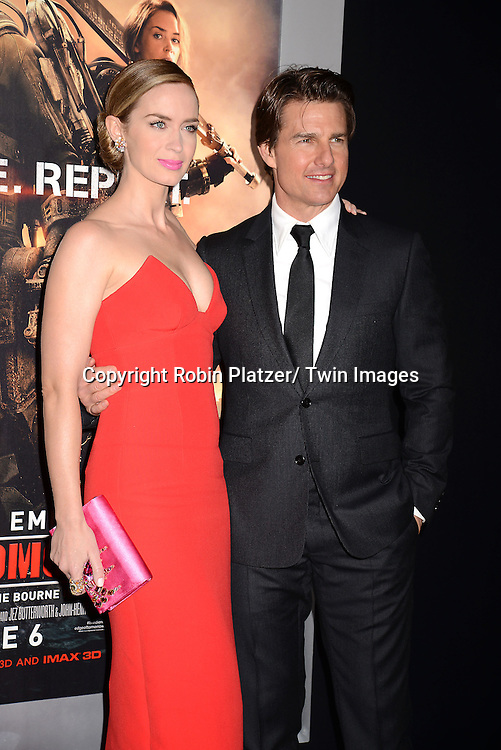 """Emily Blunt and Tom Cruise  attends the """"Edge of Tomorrow"""" New York Fan Premiere on May 28, 2014 at the AMC Lincoln Square Theatre in New York City."""