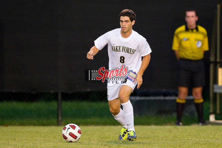 Luciano Delbono #8 of the Wake Forest Demon Deacons pushes the ball up field against the Davidson Wildcats at Spry Soccer Stadium on September 28, 2011 in Winston-Salem, North Carolina.  The Demon Deacons defeated the Wildcats 4-1.  (Brian Westerholt / Sports On Film)