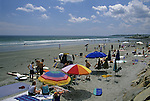 Summer crowd at Long Sands Beach, York, Maine, USA
