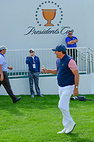 Phil Mickelson (USA) gives a thumbs up as he approaches the first tee during round 2 Four-Ball of the 2017 President's Cup, Liberty National Golf Club, Jersey City, New Jersey, USA. 9/29/2017.<br /> Picture: Golffile | Ken Murray<br /> <br /> All photo usage must carry mandatory copyright credit (&copy; Golffile | Ken Murray)