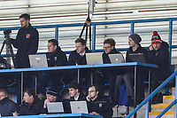 The Fleetwood Town media team during the Sky Bet League 1 match between Gillingham and Fleetwood Town at the MEMS Priestfield Stadium, Gillingham, England on 27 January 2018. Photo by David Horn.