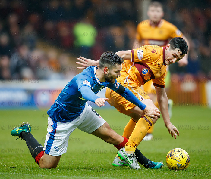 Carl McHugh with Rangers midfielder Jon Toral