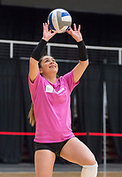 NWA Democrat-Gazette/BEN GOFF @NWABENGOFF<br /> Okiana Valle, Arkansas senior libero, sets the ball Wednesday, Nov. 7, 2018, during practice in Barnhill Arena.