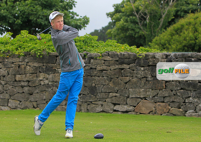 Thomas Plunkett (Crover House) on the 1st tee during R2 of the 2016 Connacht U18 Boys Open, played at Galway Golf Club, Galway, Galway, Ireland. 06/07/2016. <br /> Picture: Thos Caffrey | Golffile<br /> <br /> All photos usage must carry mandatory copyright credit   (&copy; Golffile | Thos Caffrey)