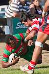 Jamie Gilbert Clark tackles Misi Tupou near the touchline. Counties Manukau Premier Club Rugby game bewtween Waiuk & Karaka played at Waiuku on Saturday April 11th, 2010..Karaka won the game 24 - 22 after leading 21 - 9 at halftime.