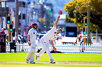 Hamish Bennett bowls on day two of the Plunket Shield cricket match between Wellington Firebirds and Northern Districts in Wellington, New Zealand on Monday, 26 March 2018. Photo: Dave Lintott / lintottphoto.co.nz