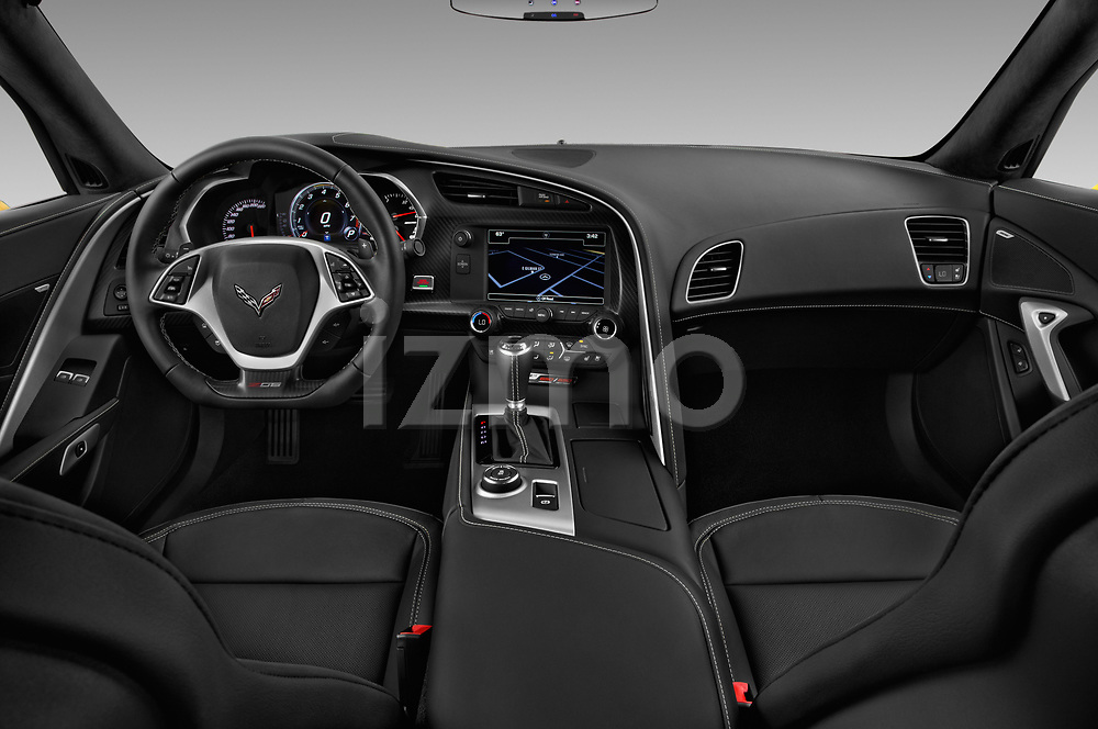 Stock photo of straight dashboard view of a 2019 Chevrolet Corvette Z06 Coupe 1LZ 3 Door Targa