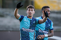 Scott Kashket of Wycombe Wanderers celebrates scoring his side's first goal during the Sky Bet League 2 match between Plymouth Argyle and Wycombe Wanderers at Home Park, Plymouth, England on 26 December 2016. Photo by Mark  Hawkins / PRiME Media Images.