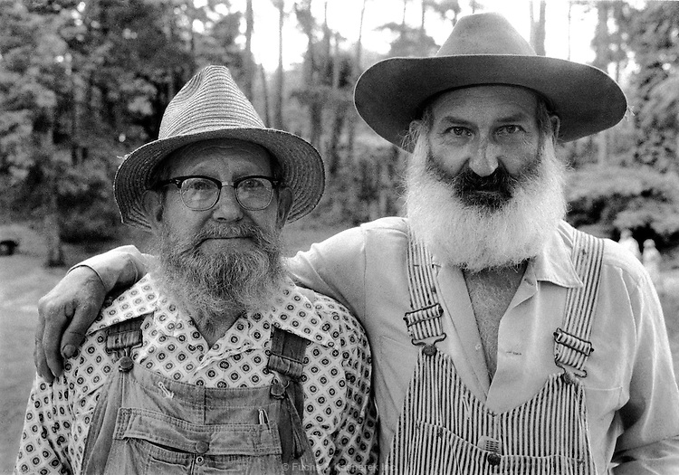 Two participants in a beard growing contest pose at a fair in Mississippi, 1977.
