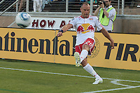 New York Red Bulls midfielder Joel Lindpere (20) takes the corner. The San Jose Earthquakes tied the New York Red Bulls 2-2 at Stanford Stadium in Stanford, California on July 2nd, 2011.