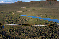Aerial of the Trans Alaska Oil Pipeline near Coldfoot, Alaska.
