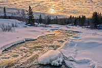 Sunrise over the Pinawa River. <br />