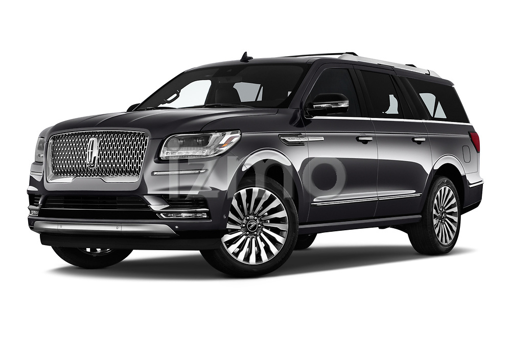 Stock pictures of low aggressive front three quarter view of a 2018 Lincoln Navigator L Reserve 5 Door Wagon