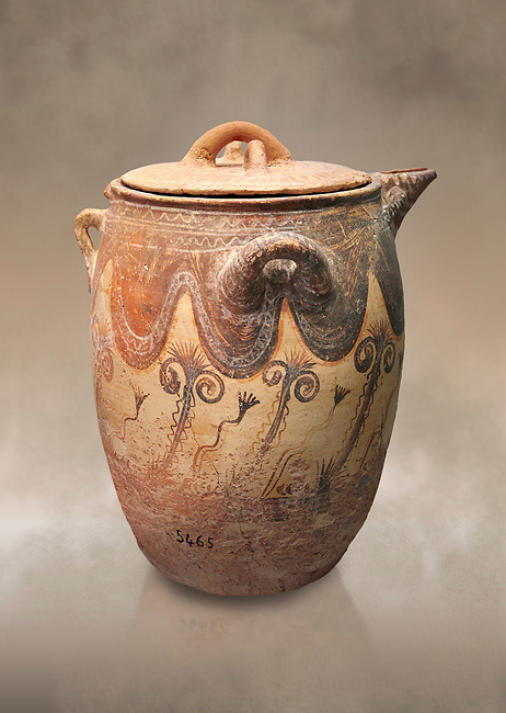 Minoan small bridge spouted jars decorated with lilies, Machlos 1500-1400 BC; Heraklion Archaeological  Museum.