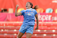 Bridgeview, IL - Sunday May 29, 2016: Chicago Red Stars forward Sofia Huerta (11) celebrates scoring during a regular season National Women's Soccer League (NWSL) match at Toyota Park.