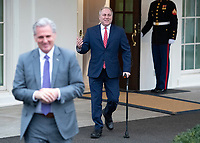 Incoming United States House Minority Whip Steve Scalise (Republican of Louisiana) walks out of the West Wing to meet reporters at the White House after meeting with US President Donald J. Trump on border security and reopening the federal government at the White House in Washington, DC on Wednesday, January 2, 2018.  Incoming US House Minority Leader Kevin McCarthy (Republican of California) is in the foreground at left.<br /> Credit: Ron Sachs / CNP/AdMedia