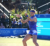 June 17th 2017, Nottingham, England; WTA Aegon Nottingham Open Tennis Tournament day 6;  Lucie Safarova of Czech Republic fighting to stay in the first set in her match against Donna Vekic of Croatia