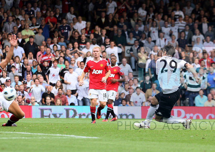 Fulham's Simon Davies scoring his sides equaliser