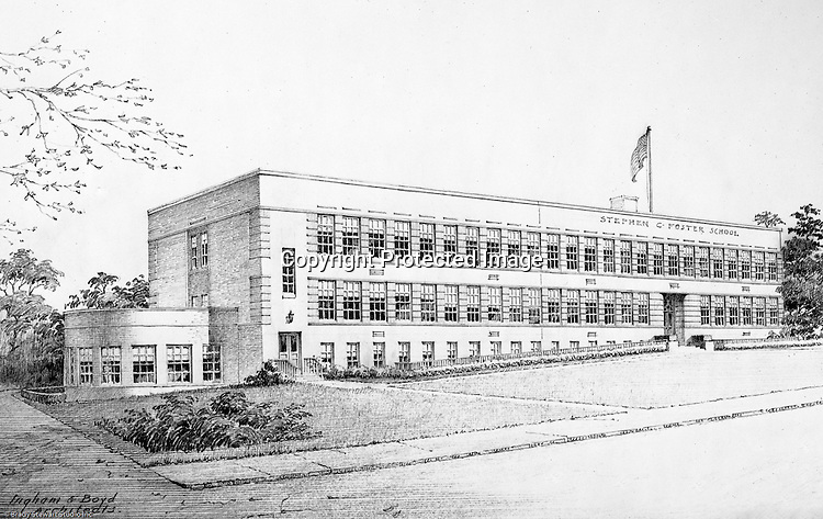 Pittsburgh PA:  View of an Ingham and Boyd Architect's rendering of the Stephen Foster Elementary School in Mt Lebanon PA  - 1946.