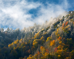 A new snow blankets the mountains beyond the last remnants of fall color, Smoky Mountains.