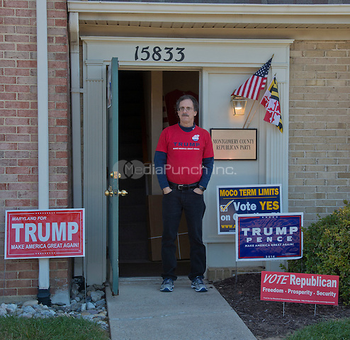 Rockville,MD November 7 2016, USA:  Brad Botwin, the events manager stand in front of the Montgomery County, MD  Republican campaign headquarters . The campaign office is making a push to get out Trump supporters to vote on November 8, 2016  Patsy Lynch/MediaPunch