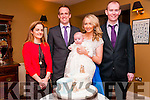Baby Ronan O'Sullivan with his parents Liam & Aoife O'Sullivan, Lixnaw and god parents Lorraine O'Flaherty & Dermot O'Sullivan who was christened in St. Michael's Church, Lixnaw by Fr. Mossie Brick on Saturday last and afterwards at the Listowel Arms Hotel.