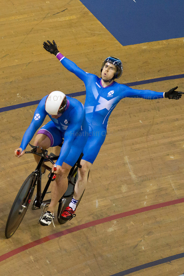 Mcc0055084 . Daily Telegraph<br /> <br /> Neil Fachie and Craig Maclean winning Gold in the Men's Para-Sport 1000m Time Trial B Tandem on Day Two of the 2014 Commonwealth Games in Glasgow .<br /> <br /> 25 July 2014
