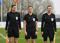 20190406  - Tubize , BELGIUM : referee Angelika Soeder (M) with assistant referee Sina Diekmann (R) and Nicolet Bakker (L) pictured during the soccer match between the women under 19 teams of Belgium and Finland , on the second matchday in group 2 of the UEFA Women Under19 Elite rounds in Tubize , Belgium. Saturday 6 th April 2019 . PHOTO DIRK VUYLSTEKE / Sportpix.be